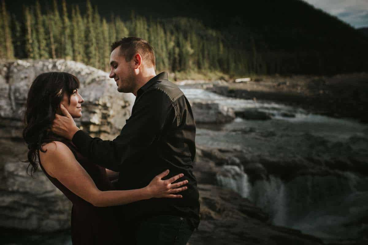 Elbow Falls Kananaskis engagement pictures